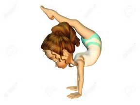 Cartoon Girl Doing Gymnastics