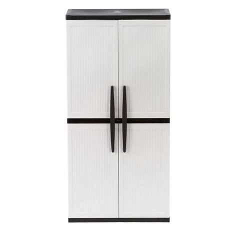 Home Depot Plastic Garage Storage Cabinets by Hdx 35 In W 4 Shelf Plastic Multi Purpose Cabinet In Gray