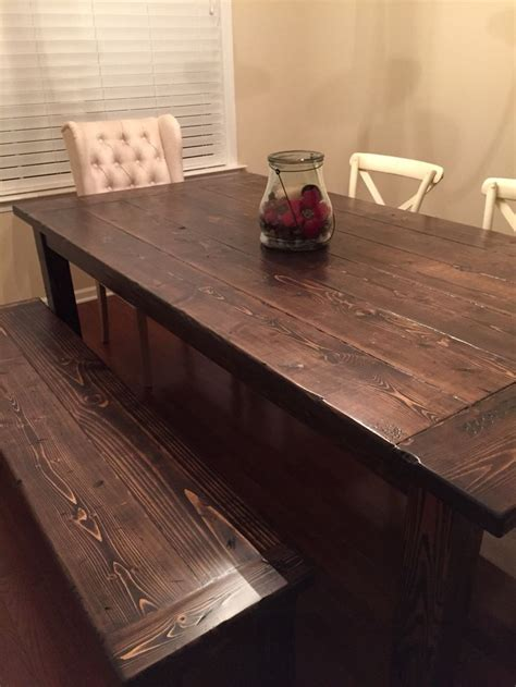 farmhouse dining room table  bench   xs