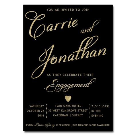 black gold engagement party invitations