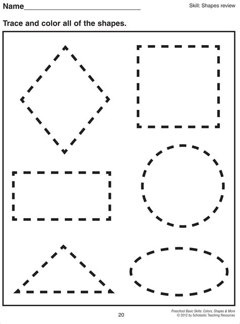 pre  tracing shapes worksheets  images  shape