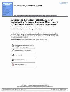 investigating the critical success pdf download available With implementing a document management system