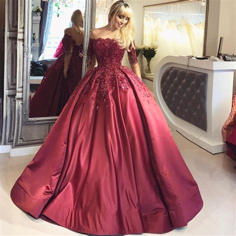A Line Ball Gown Burgundy Prom Dresses Long Sleeves With