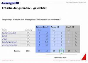 Noten Mit Gewichtung Berechnen Online : 4managers management entscheidungsmatrix ~ Themetempest.com Abrechnung