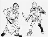 Leatherface Jason Pages Voorhees Coloring Drawing Cartoon Deviantart Freddy Krueger Myers Michael 13th Friday Horror Sketch Getdrawings Chucky Template sketch template