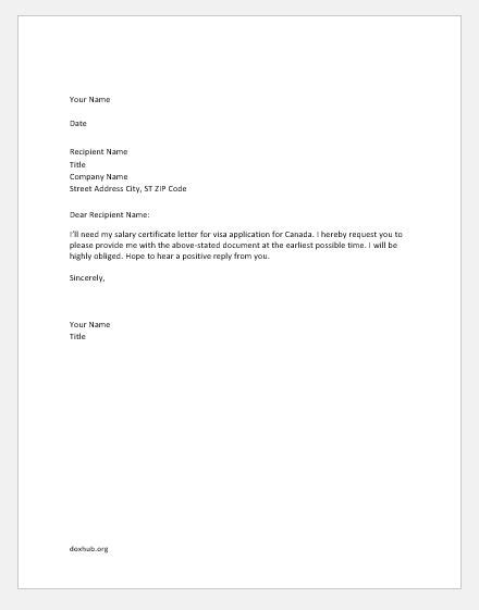 Salary Certificate Request Letters Samples | Document Hub