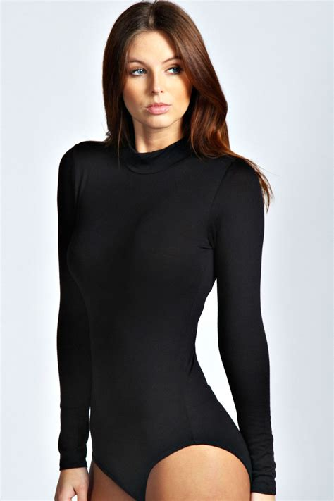 Boohoo Womens Ladies Eva High Neck Long Sleeve Bodysuit Ebay