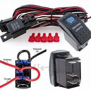 12v On  Off 5 Pins Blue Driving Light Rocker Switch   Wiring Harness Relay Fuse