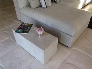 Table Bout De Canapé : table bout de canape en beton cire photo de beton cire le mobilier catherine pendanx ~ Teatrodelosmanantiales.com Idées de Décoration