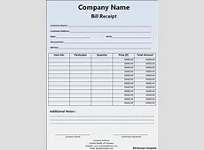 Bill Receipt Format Free Printable Word Templates,