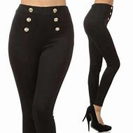 Black with Gold Buttons High Waist Pants