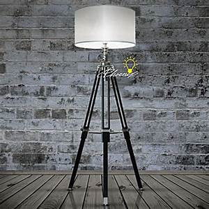industrial heavy metal and black wood tripod fabric floor With heavy wood floor lamp