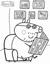 Pig Peppa Coloring Newspaper Daddy Read Sitting Quietly Pages Colouring Coloringsky Mummy Sheets Printable Books Drawing Piggy Sky George sketch template