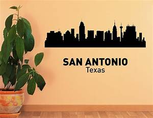 san antonio texas city skyline vinyl wall art decal sticker With vinyl lettering san antonio