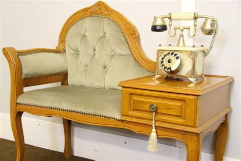French Louis Style Telephone Table, Shabby Chic Chair