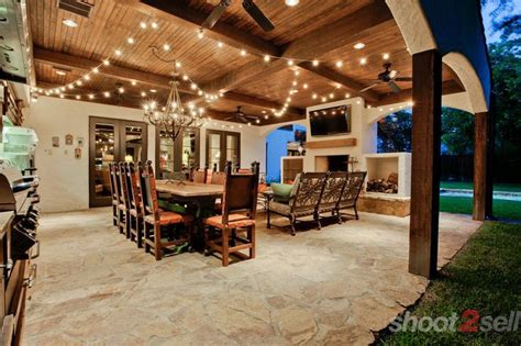 beautiful backyard bar and grill patio twilight