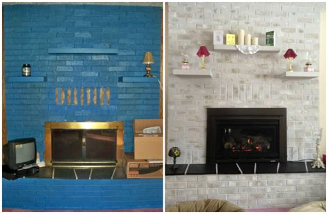 hometalk previously blue brick painted fireplace