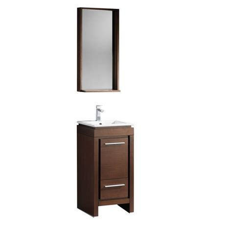 16.5 Inch Single Sink Bathroom Vanity in Wenge Brown