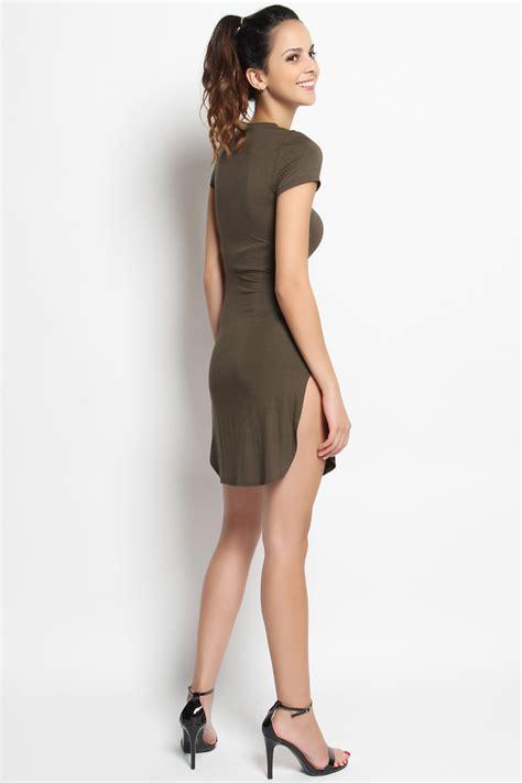plain tunic themogan high side slit sleeve t shirt dress plain