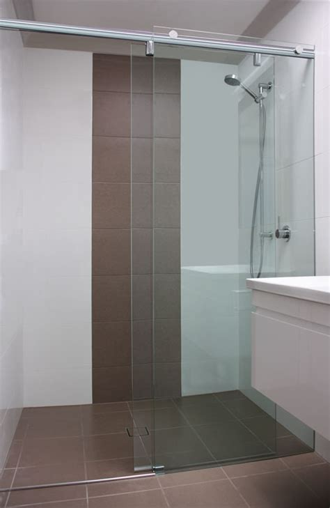 Sliding Frameless Shower Screen   White Bathroom Co