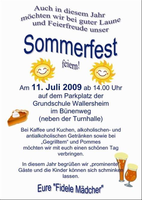 einladung lieblich einladung sommerfest vorlage