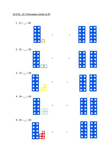 find number bonds    numicon missing numbers