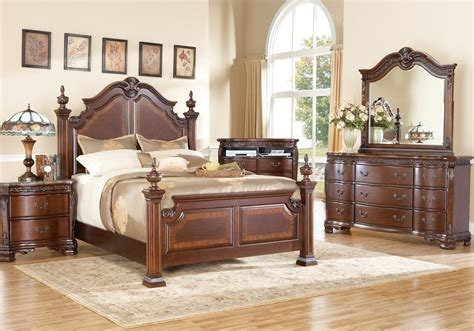 cortinella cherry 7 pc king poster bedroom