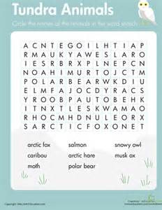 Word Search Worksheet of the Arctic Tundra Animals