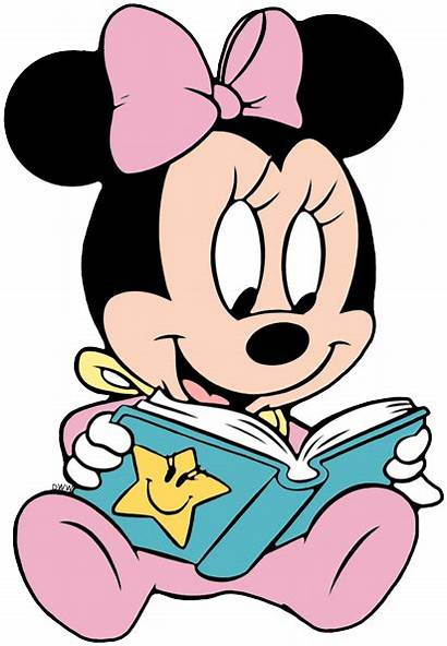 Minnie Clipart Reading Disney Mouse Coloring Clip