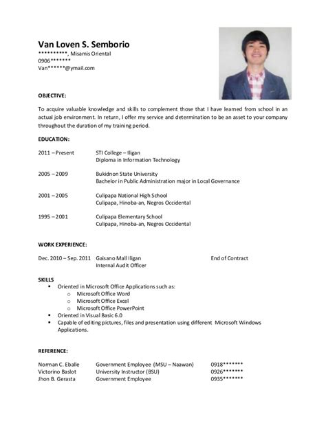 Simple Resume Format For Students by Sle Resume For Ojt