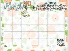 Free printables March 2017 Calendar and coordinating