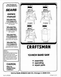Craftsman 113 248510 113 248320 Band Saw Instruction