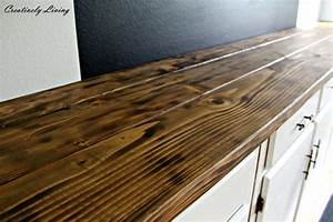 Torched DIY Rustic Wood Counter Top for Under $50 by