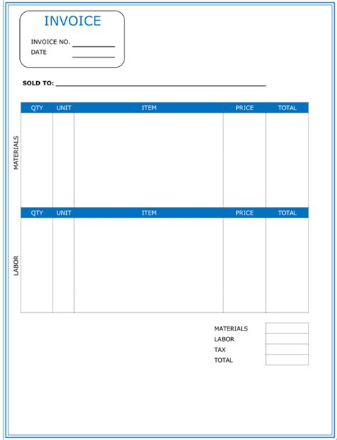 contractor invoice template word invoice