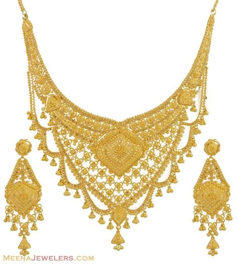 gold necklace  earrings set kt indian jewelry