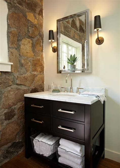 bathroom  stone accent wall contemporary wood vanity