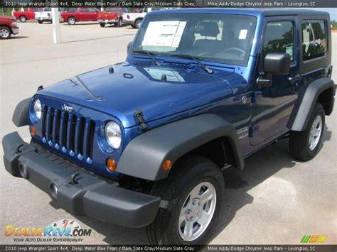 jeep grey blue 2010 jeep wrangler sport 4x4 deep water blue pearl dark