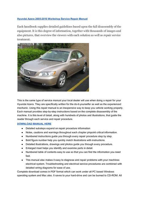 what is the best auto repair manual 2010 volkswagen tiguan interior lighting hyundai azera 2005 2010 workshop service repair manual