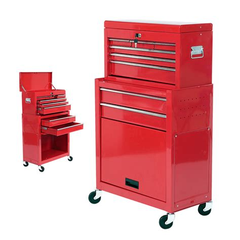 tool cabinets on wheels mechanics 8 drawer steel combination heavy duty tool chest