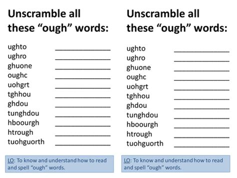 unscramble 6 letter words ough spelling words unscramble by he4therlouise teaching 38049