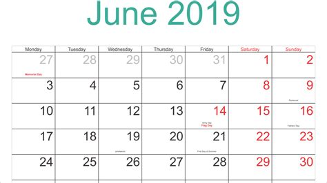 Printable Calendar June 2019 With Lines