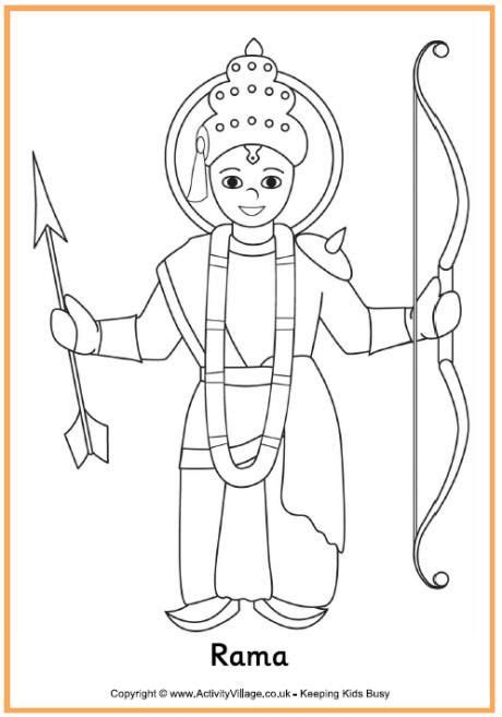 rama colouring page diwali colouring page diwali