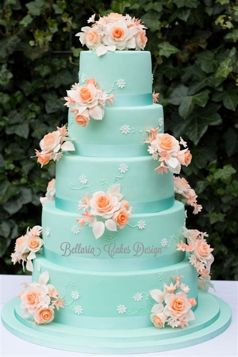tier mintgreen  peach weddingcake cakecentralcom