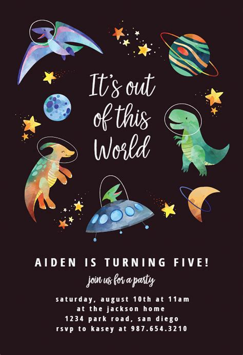 space dinosaurs birthday invitation template