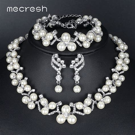 Wedding Jewelry by Mecresh Simulated Pearl Bridal Jewelry Sets 2017 New