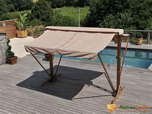 Store Banne Sur Pied : store banne double pente en bois et acier sur pied 3x3 ~ Premium-room.com Idées de Décoration