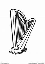 Harp Colouring Coloring Worksheet Primaryleap Printable Pages sketch template