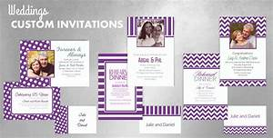 Custom purple wedding invitations thank you notes for Party city purple wedding invitations