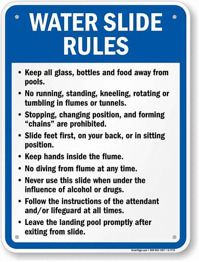 Slide Rules Water Sign Pool Signs Swimming