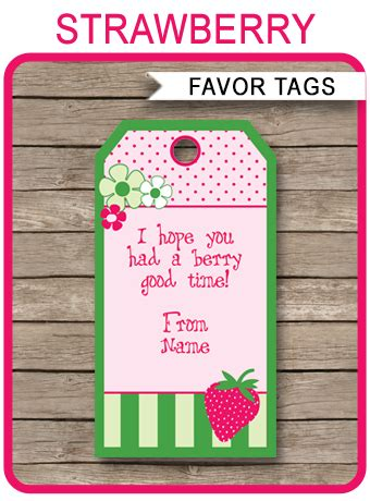 strawberry shortcake party favor tags   tags